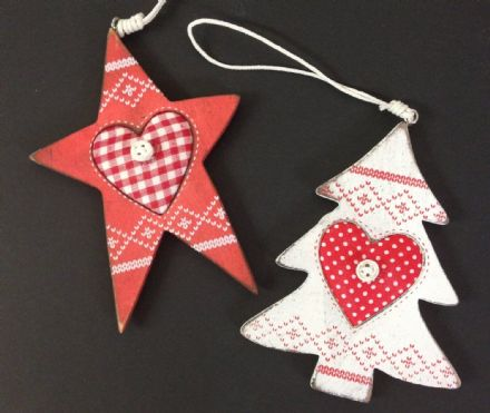 Nordic Wooden Christmas Tree Ornaments - Red Star & White Tree